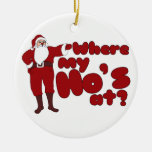 Where my hos at Double-Sided ceramic round christmas ornament