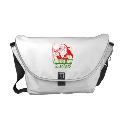WHERE MY HOS AT -.png Messenger Bags