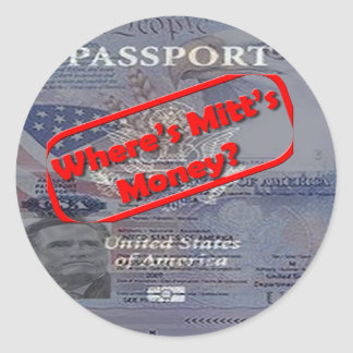 Where's Mitt's Money? Round Stickers