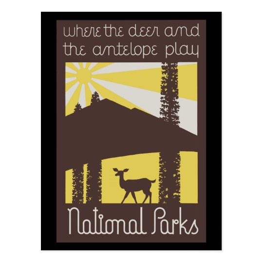where the deer and antelope play postcard