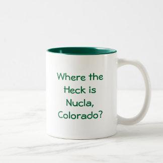 Where the Heck is Nucla, Colorado? Two-Tone Coffee Mug