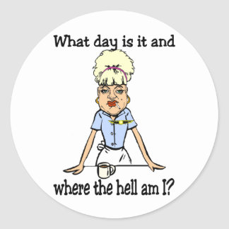 where the hell am i classic round sticker
