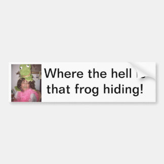 Where the hell is that frog hiding! car bumper sticker