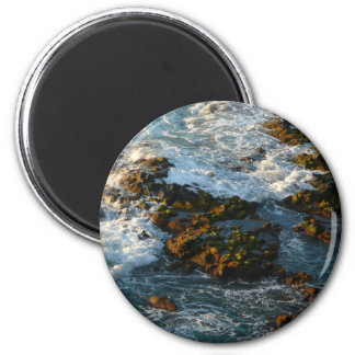 Where the Ocean Meets the Rocks 2 Inch Round Magnet