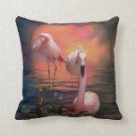 Where The Wild Flamingo Grow Art Pillow