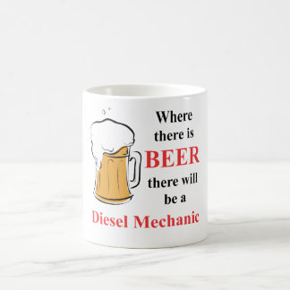 Where there is Beer - Diesel Mechanic Classic White Coffee Mug