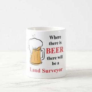 Where there is Beer - Land Surveyor Classic White Coffee Mug