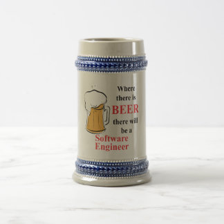 Where there is Beer - Software Engineer 18 Oz Beer Stein