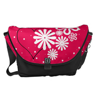 Where there is Love there is Life. Flower & Heart Courier Bag