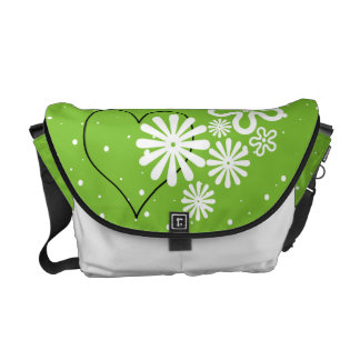 Where there is Love there is Life. Flower & Heart Messenger Bag