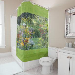 Where Three Gardens Meet Chartreuse Green Grass Shower Curtain