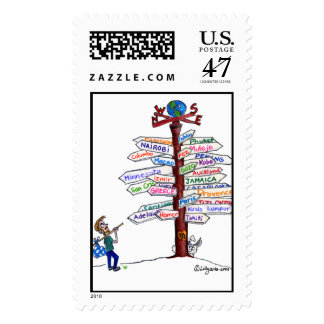 Where To Go? Road Signs Traveler Custom Postage