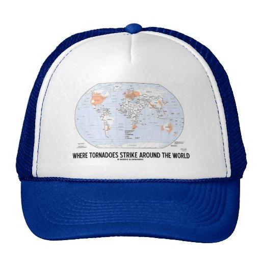 Where Tornadoes Strike Around The World (Map) Trucker Hat