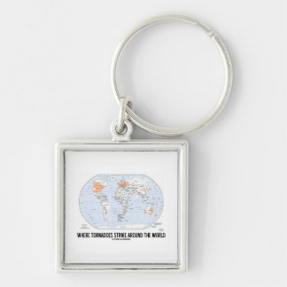 Where Tornadoes Strike Around The World (Map) Silver-Colored Square Keychain