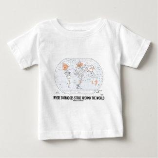 Where Tornadoes Strike Around The World (Map) Tshirt
