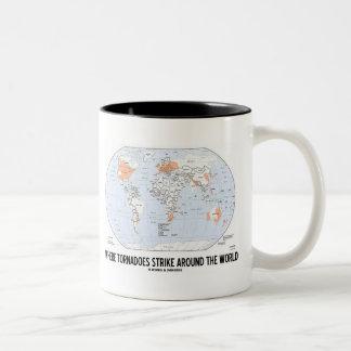 Where Tornadoes Strike Around The World (Map) Two-Tone Coffee Mug