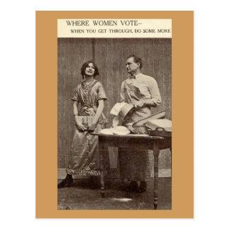 Where Women Vote Suffragette Vintage Postcard