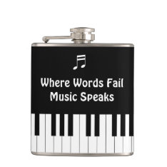 Where Words Fail, Music Speaks Drink Flask at Zazzle