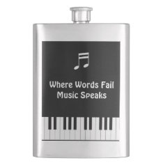 Where Words Fail, Music Speaks Hip Flask at Zazzle