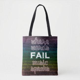 Where Words Fail, Music Speaks Tote Bag