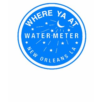 Where Yat New Orleans Water Meter Cover Blue shirt