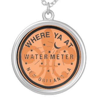 Where Yat Water Meter Fleur De Lid Round Pendant Necklace