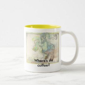 Where's da coffee? Two-Tone coffee mug