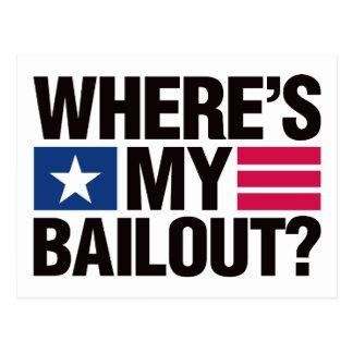 Wheres My Bailout - Black Postcard