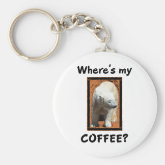 Where's My Coffee? Basic Round Button Keychain