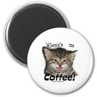 Where's my Coffee Cat 2 Inch Round Magnet