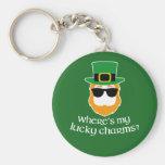 Where's My Lucky Charms? St Patrick Day Leprechaun Basic Round Button Keychain