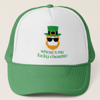 Where's My Lucky Charms? St Patrick Day Leprechaun Trucker Hat