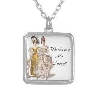 Where's My Mr. Darcy? Square Pendant Necklace