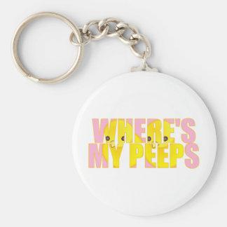 Where's My Peeps? Basic Round Button Keychain