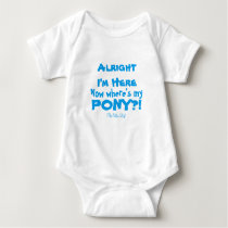 Where's My Pony in Blue Baby Bodysuit