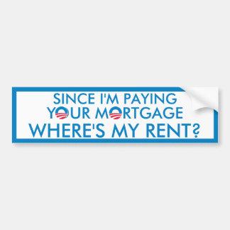Where's My Rent? Car Bumper Sticker
