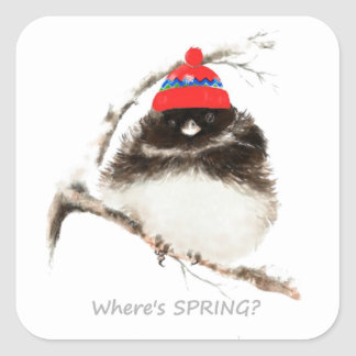 Where's Spring Funny Sarcastic Watercolor Junco cu Square Sticker