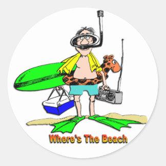 Where's The Beach Classic Round Sticker