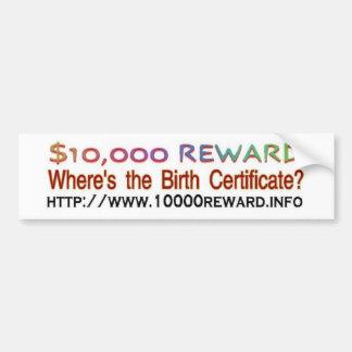 wheres the birth certificate car bumper sticker