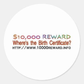 wheres the birth certificate round sticker