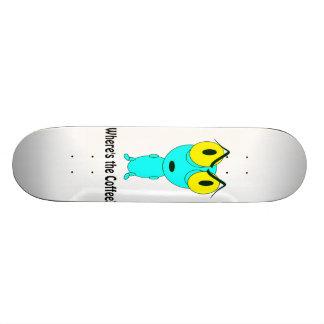 Where's the Coffee, Alien Cartoon Skateboard Deck