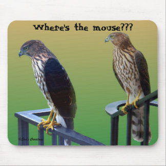 """Where's the mouse???"" Hawks Mouse Pad"