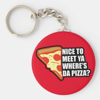 Where's the Pizza Basic Round Button Keychain