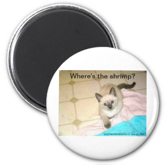 Where's the Shrimp? keychain for cats or humans :) Magnet