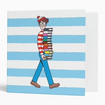 Where's Waldo Carrying Stack Of Books 3 Ring Binder by WheresWaldo at Zazzle