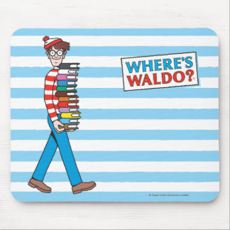 Where's Waldo Carrying Stack of Books Mouse Pad