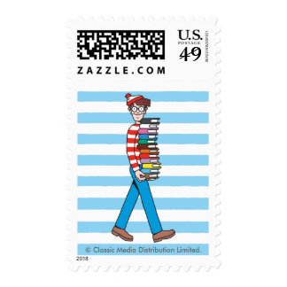 Where's Waldo Carrying Stack of Books Postage