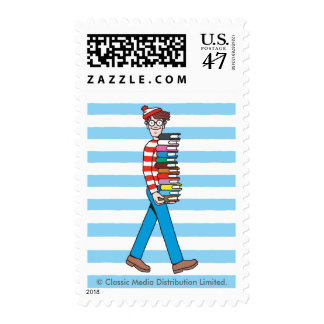 Where's Waldo Carrying Stack of Books Postage Stamp