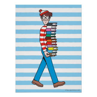 Where's Waldo Carrying Stack of Books Poster