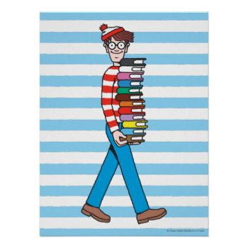 Where's Waldo Carrying Stack Of Books Poster by WheresWaldo at Zazzle